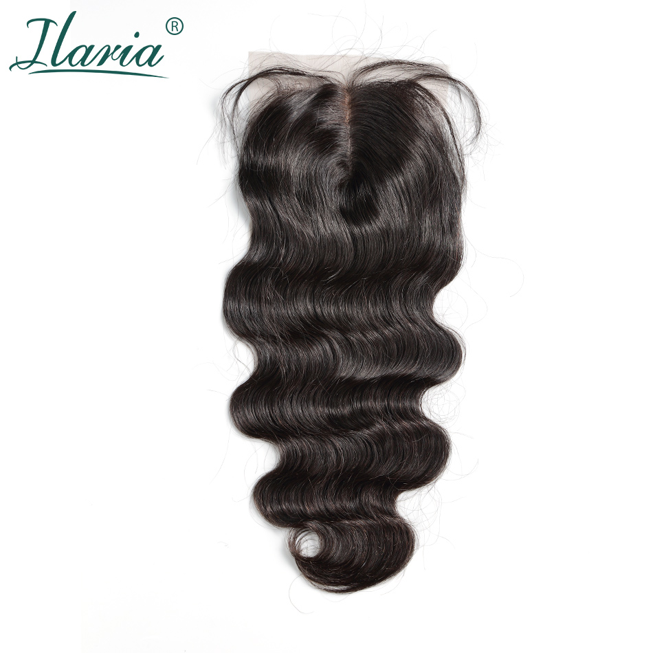 ILARIA HAIR Brazilian Remy Hair Lace Closure With Baby Hair Body Wave 4x4 Human Hair Top Closure Middle Part Free Part 3 Part