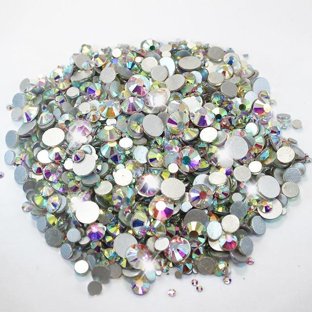f86d6fad61 Mixed Sizes Flatback Nail Art Rhinestone Glass Stones Crystal AB Round Non  Hotfix Rhinestone Glitters Iron on Garment Clothing