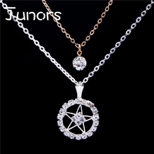 JUNORS natural Pentacle Pentagram Pendant Starry Sky Necklace Bright Star Witch Protection Star Amulet Necklace Kuroshitsuji