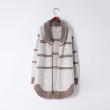 Womens Stripe Sweaters Long Cardigans Fur Collar Slim Sweaters Flat Knitted Pull Femme Winter Coffee Pink Color