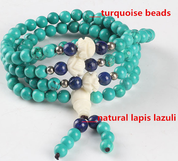 Ubeauty natural turquoise 6mm 108  Tibetan Buddhist prayer japa rosary beads bracelet necklace with lapis lazuli for Meditation