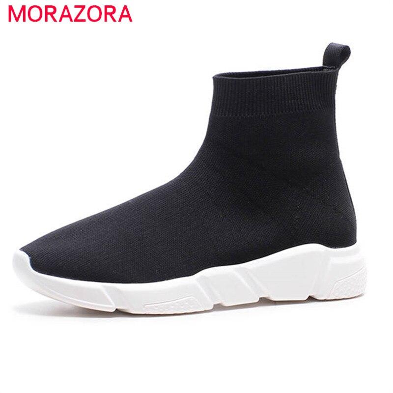 e1acc777e Colores Calcetines Sólidos Mujer Estilo Estiramiento Piso Morazora Otoño  Negro Mujeres Para Botines Botas Zapatos 2018 Nuevo Cómodo XYXRn4S