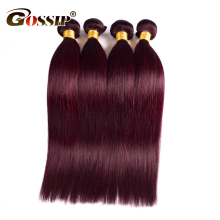 Peruvian Hair Straight Burgundy 99J Color 100% Human Hair Weave Bundles 10-26″ Red Double Weft Hair Extensions Gossip Non Remy