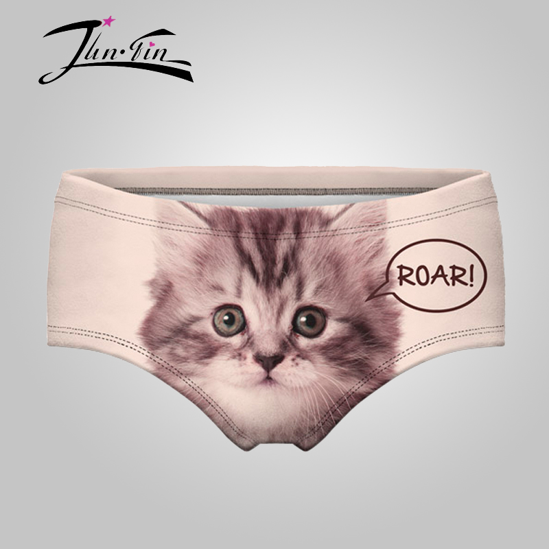 CAT ROAR Panties 2016 New 3D Printed Good Quality Underwear Women Panties Briefs calcinha lingerie bragas