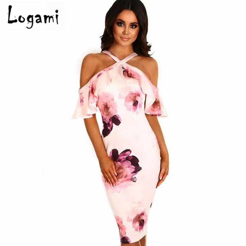 LOGAMI Off Shoulder Retro Floral Print Bodycon Dreess Women Sexy Summer Dress Sexy Midi  ...