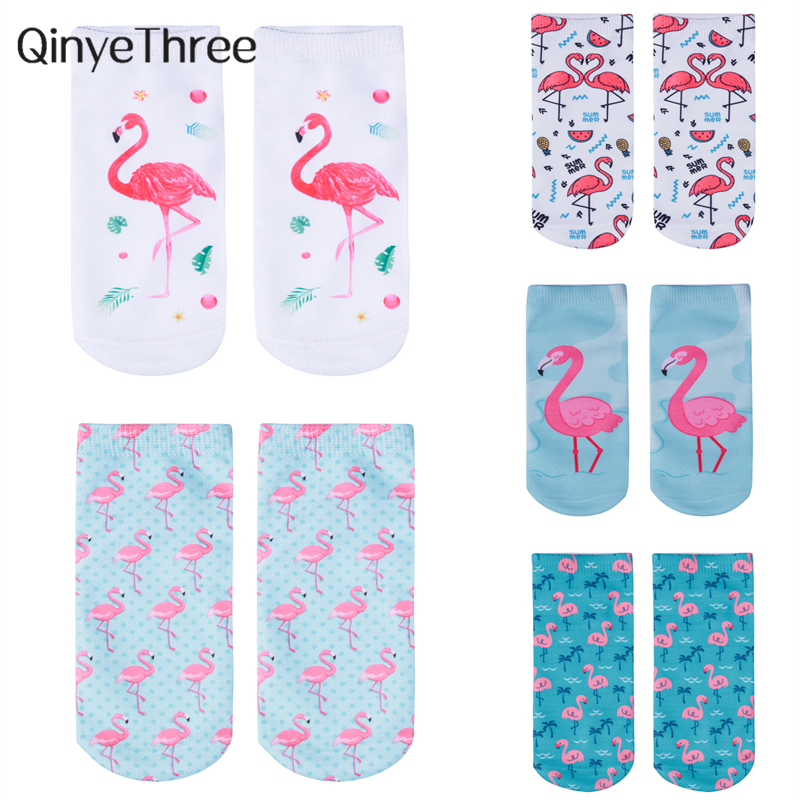 New 3D Printing Women   Socks   Beautiful Flamingos Sox Cartoon Pattern Meias Funny Fashion Unisex Low Ankle Hot Animal   Socks