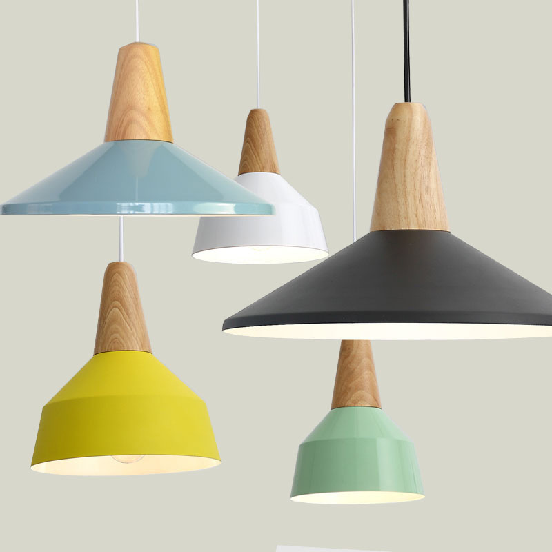 Pendant Lights Real Wooden+Aluminum Colorful Pendant Lamps For Restaurant coffee Bar Home Decoration luminaire lamparas+led lampPendant Lights Real Wooden+Aluminum Colorful Pendant Lamps For Restaurant coffee Bar Home Decoration luminaire lamparas+led lamp