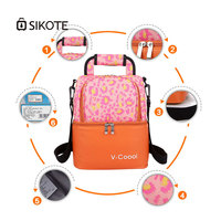 SIKOTE Oxford Thermal Cooler Bag Waterproof Portable Bag for Picnic Colorful Stripe Bag Keep Cooler Fresh Women for Milk EVA Bag