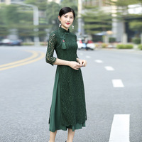 Fashion Modern Aodai Vietnam Dress Women Traditional Clothing Ao Dai Crochet Dresses Chinese Ladies Cheongsam Improved Qipao