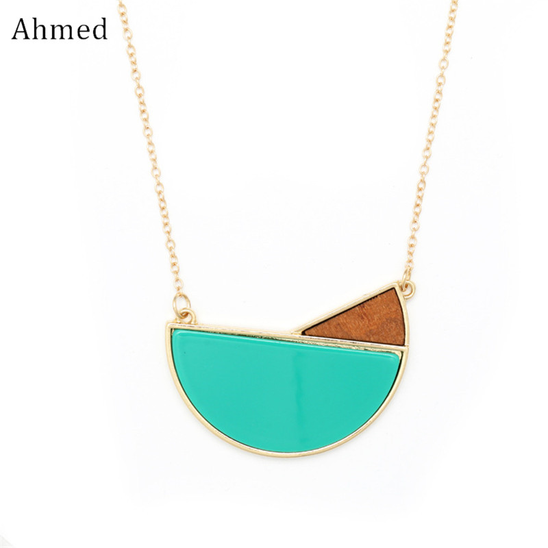 Ahmed Fashion Spring Geometry Acetate Plate&Wood Pendant Long Chain Necklace for Women New Design Statement Sweater Jewelry