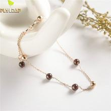 Flyleaf 925 Sterling Silver Bracelets For Women Natural Stone Garnet Personality Simple Fashion Fine Jewelry & Bangles