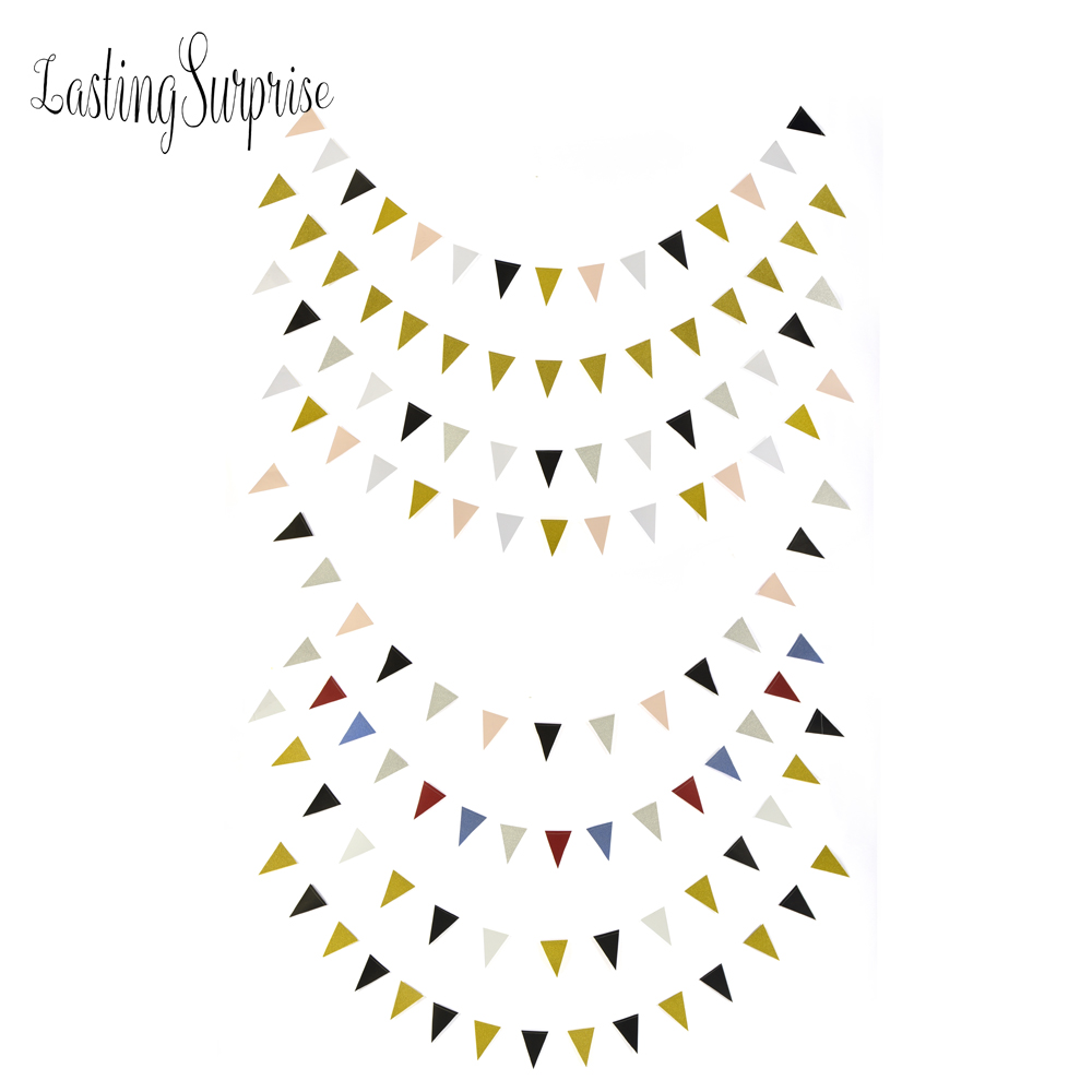 Lasting Surprise Black White Gold Flag Banners Glitter Paper Pennant Bunting Garland Wedding Decoration Birthday Party 3m 15Flag