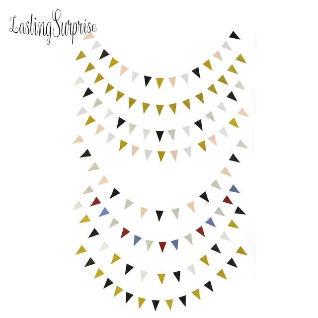 Lasting Surprise Black White Gold Flag Banners Glitter Paper Pennant