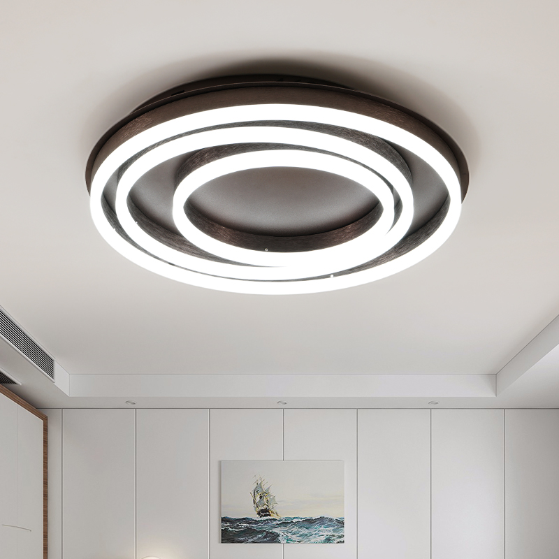 New Modern Led Ceiling Lights For Living Room Bedroom Brown  Color Rings Avize AC85-265V Lamparas De Techo Ceiling Lamp Fixtures