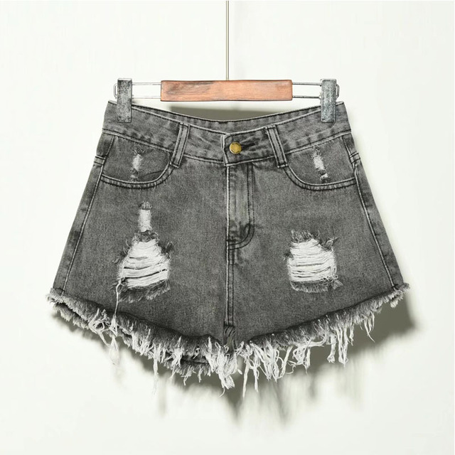 2019 sexy summer denim shorts women high waist Jean shorts female loose hole jeans shorts with pockets casual plus size S-6XL 6