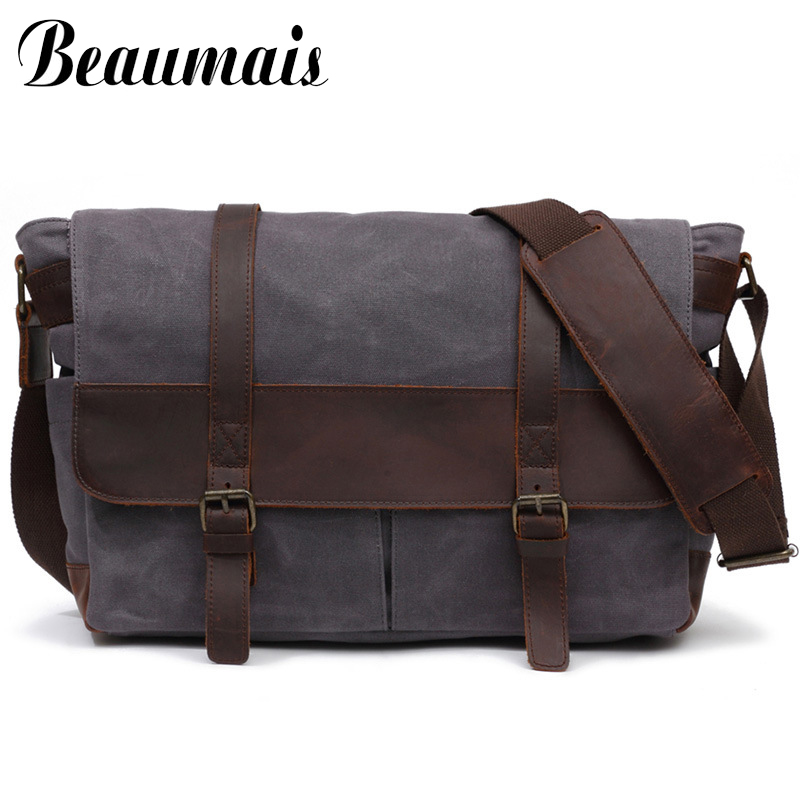 Men Messenger Bags Large Capacity Canvas Crossbody Bags School Men Shoulder Bag Crazy Horse Leather Handbags Bolso Hombre WBS417 qibolu vintage large capacity handbags men shoulder tote bag for travel business sacoche homme bolso hombre bolsa masculina 6002