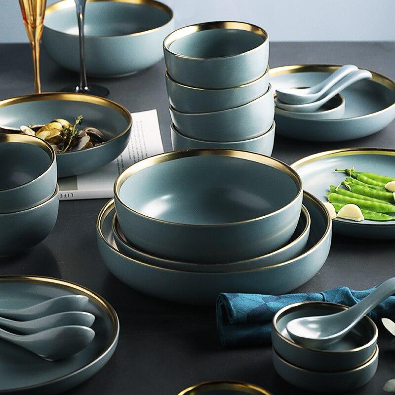 Blue Golden Ceramic Plates 3