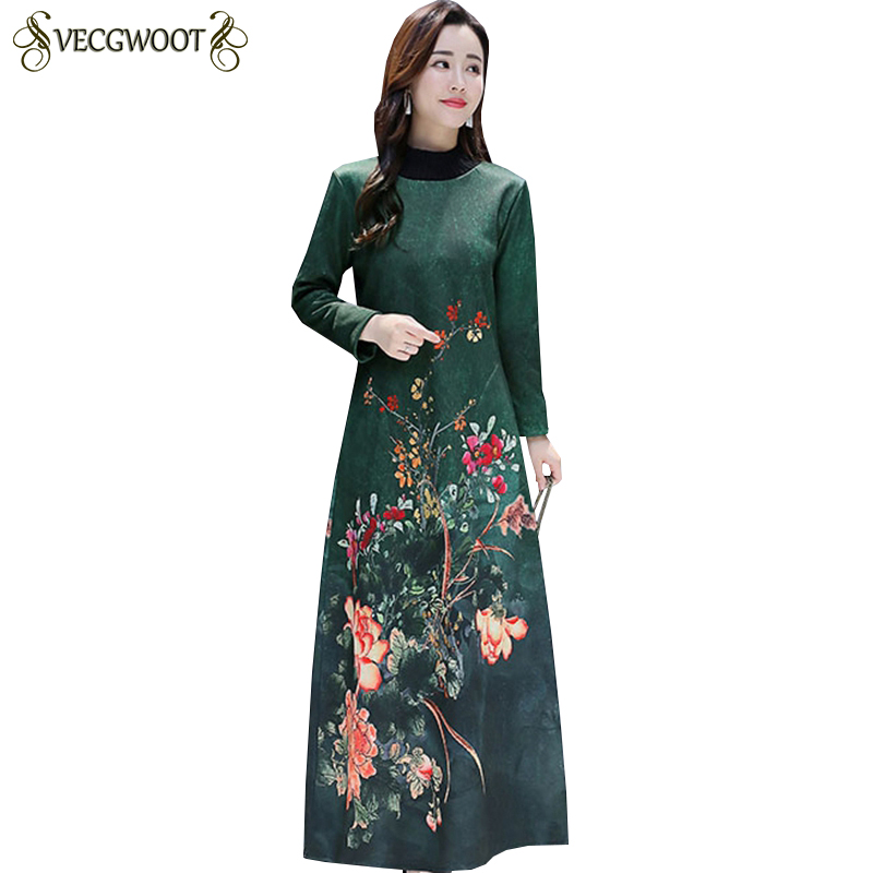 2019 New Autumn Winter Long Print Dress Women Fashion Large size Long sleeve Dress Women Round collar Plus velvet Dress LJ157