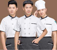 2017 New Style High Quanlity Chef S Short Sleeved Summer Wear White Work Clothes Men Overalls