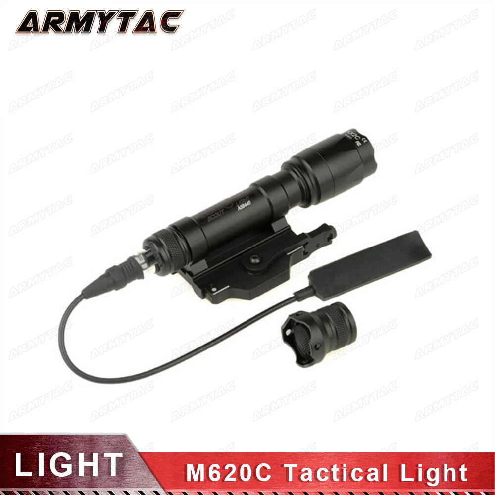 Tactical Weapon Light M620C Scout Light LED Weapon Flashlight full version Airsoft Spotlight Torch with Remote Tail 220 Lumens tactical flashlight with tail switch m300b mini scout light new version light black de