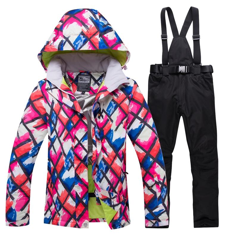 2019 hiver neige veste femmes Ski costume femme neige veste et pantalon coupe-vent imperméable coloré vêtements Snowboard ensembles