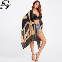 Sheinside Boho Long Blouse 2017 Women Multicolor Vintage Geo Print Casual Summer Tops Fashion New Loose