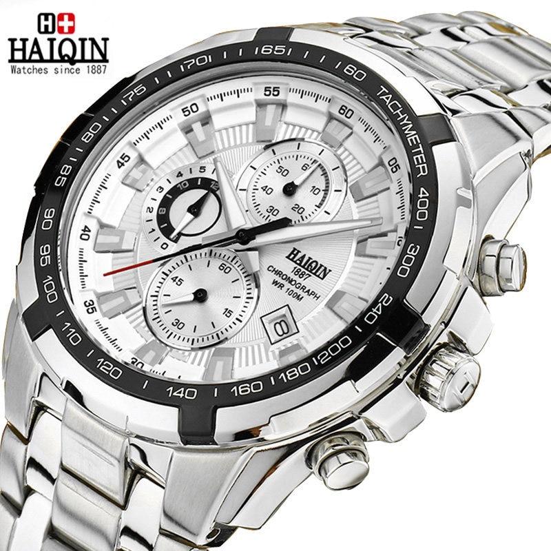 mens quartz wristwatch 316L stainless steel man watche waterproof calendar chronograph Citizen movement HAIQIN top brand luxury