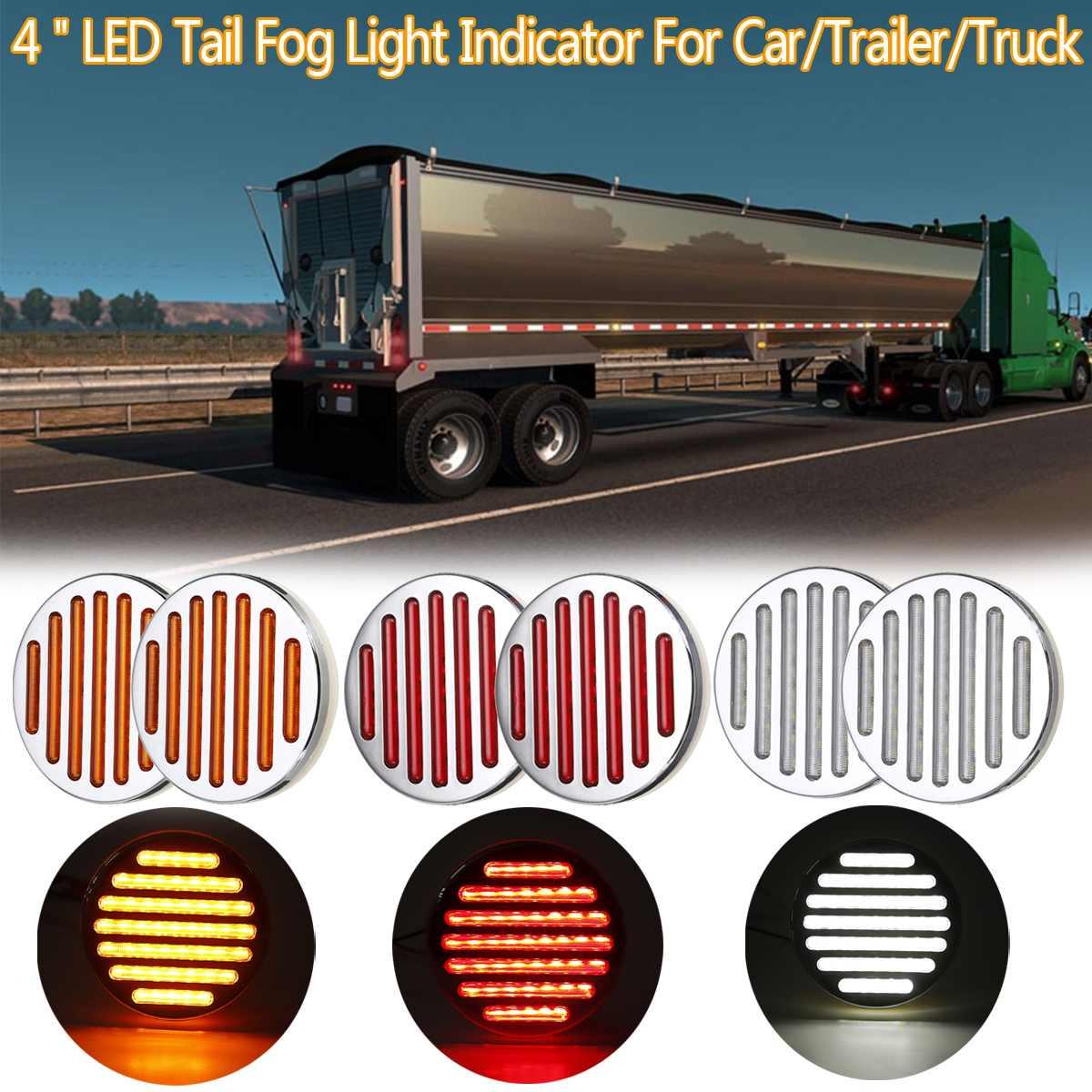 6 pièces universel 4 pouces DC 12V étanche Durable voiture camion LED arrière feu arrière feux d'avertissement indicateur de lumière de brouillard pour voiture remorque