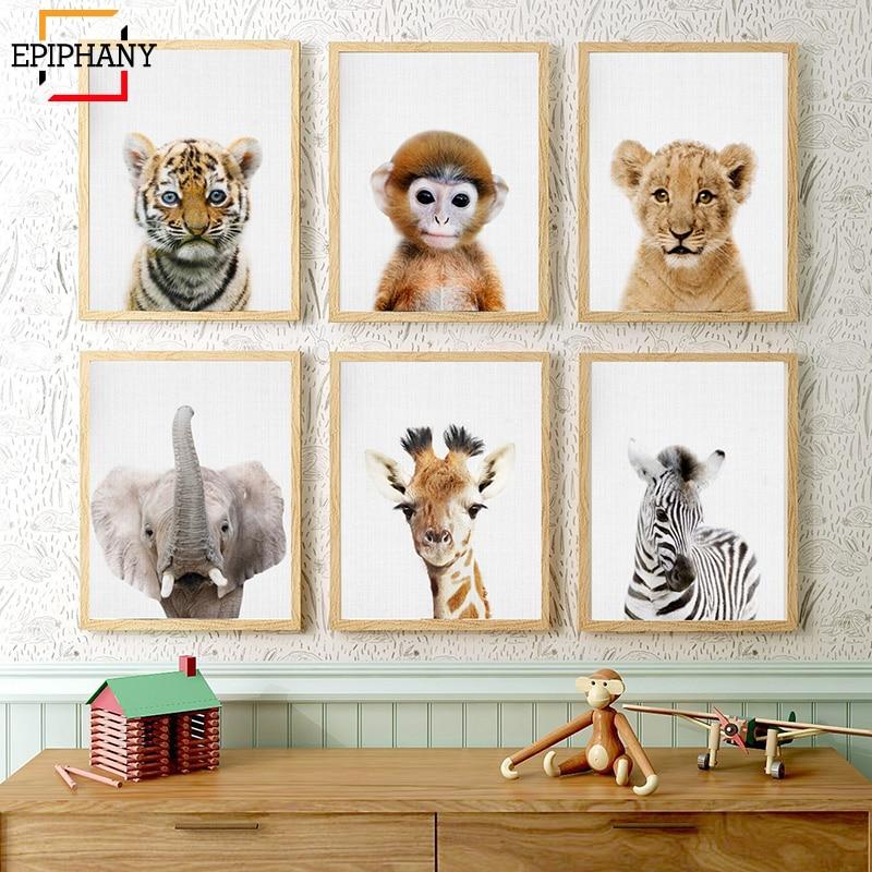 Baby Tiger Lion Monkey Zebra Print Safari Animal Nursery Decor Woodland Animals Wall Painting Modern Posters Kids Room Decor