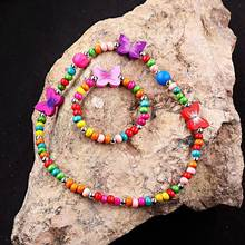 Multicolor Butterfly Shape Wood Beads Part Bracelet Necklace Children Kids Jewelry Gift