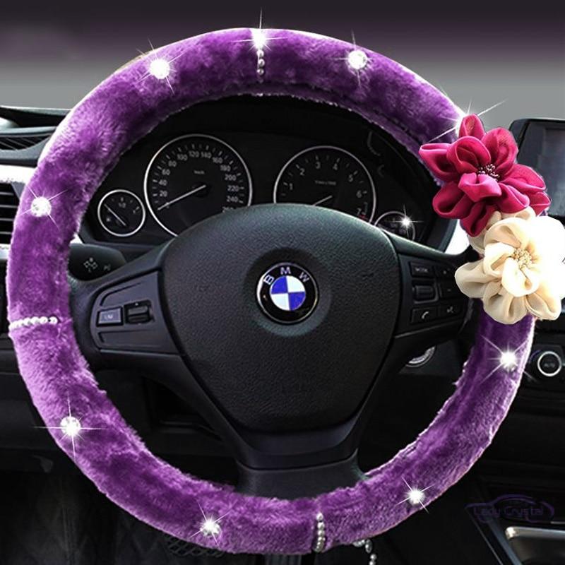 Flor color de rosa de cristal Auto volante invierno de felpa piel - Accesorios de interior de coche - foto 2