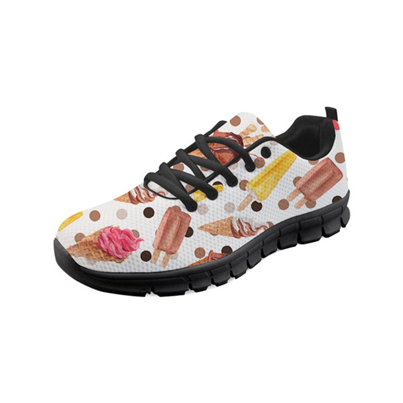 THIKIN Women Sneakers Lace up Comfortable Doctor Nurse Shoes Cartoon Hot Dog Pizza Pattern Students Girl Casual Spring/Autumn