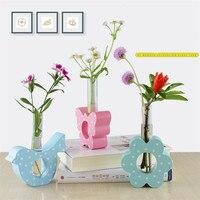 Northern Europe Test Tube Hydrophyte Vase Ornaments Figutines Artware Creative Rural Wooden Flower Vase 1 Piece