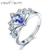 크라운 디자인 웨딩 반지 배 모양 0.35ct 정품 탄자나이트 돌 925 스털링 실버 약혼 반지 비쥬