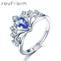 Luxury 925 Sterling Silver Wedding Rings For Woman Crown Shape Amethyst Fine Jewelry Female Party Rings