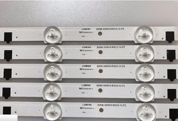 5 Pieces/lot For Samsung UA32F4088AR CY-HF320AGEV3H UE32F5000 UA32F4000AR LED Strip D2GE-320SC0-R3 2013SVS32H 9 LEDs 650mm