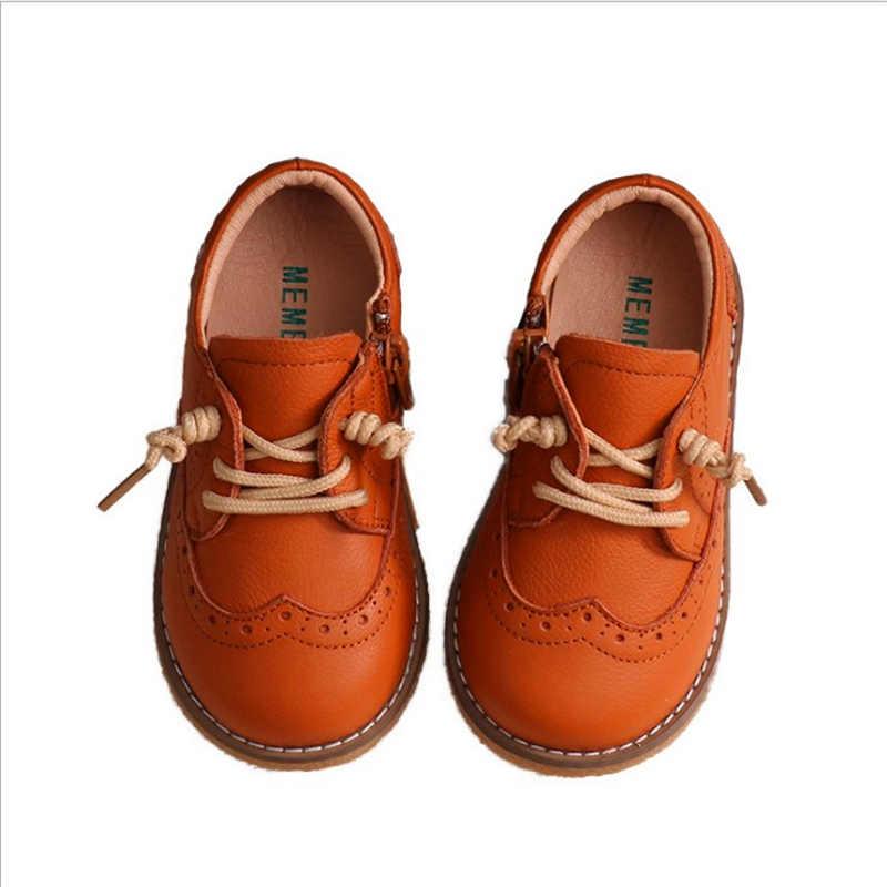 Baby Peuter Jongen Meisje Lederen Oxfords Lederen Schoenen Little Kid Lace Up Kinderen Mode Engeland Zwarte Formele Kleding Schoenen