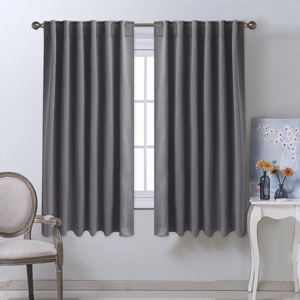 Buy Nicetown Solid Color Blackout Curtain Thermal Insulated Rod Pocket Back Tab