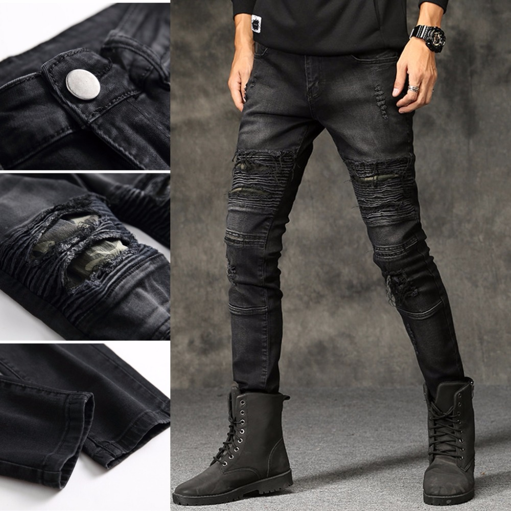 New Mens Ripped Jeans Cotton Black Slim Skinny Motorcycle Jeans Men Vintage Distressed Denim Jeans Hiphop Pants Dropshipping