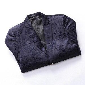 Image 4 - PYJTRL Male Retro Vintage Navy Blue Floral Print Casual Velvet Blazer Homme Design Casacas Men Coat Slim Fit Suit Jacket