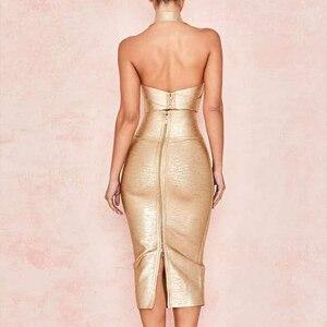 Image 5 - Seamyla 2020 ใหม่ Bodycon ผ้าพันแผลชุดผู้หญิงพิมพ์ Halter 2 ชิ้นชุดเซ็กซี่คลับ Celebrity Dresses Vestidos