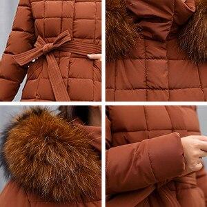 Image 4 - Fashion Winter Jacket Women Big Fur Belt Hooded Thick Down Parkas X Long Female Jacket Coat Slim Warm Winter Outwear