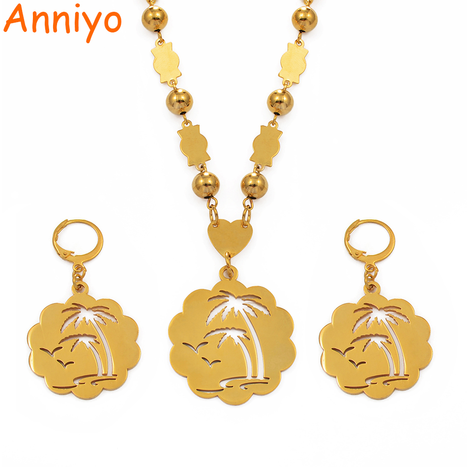 Anniyo Coconut Tree Large Size Pendant Ball Beads Necklace Earrings sets for Women Gold Color Jewelry Stainless Steel #075621Anniyo Coconut Tree Large Size Pendant Ball Beads Necklace Earrings sets for Women Gold Color Jewelry Stainless Steel #075621