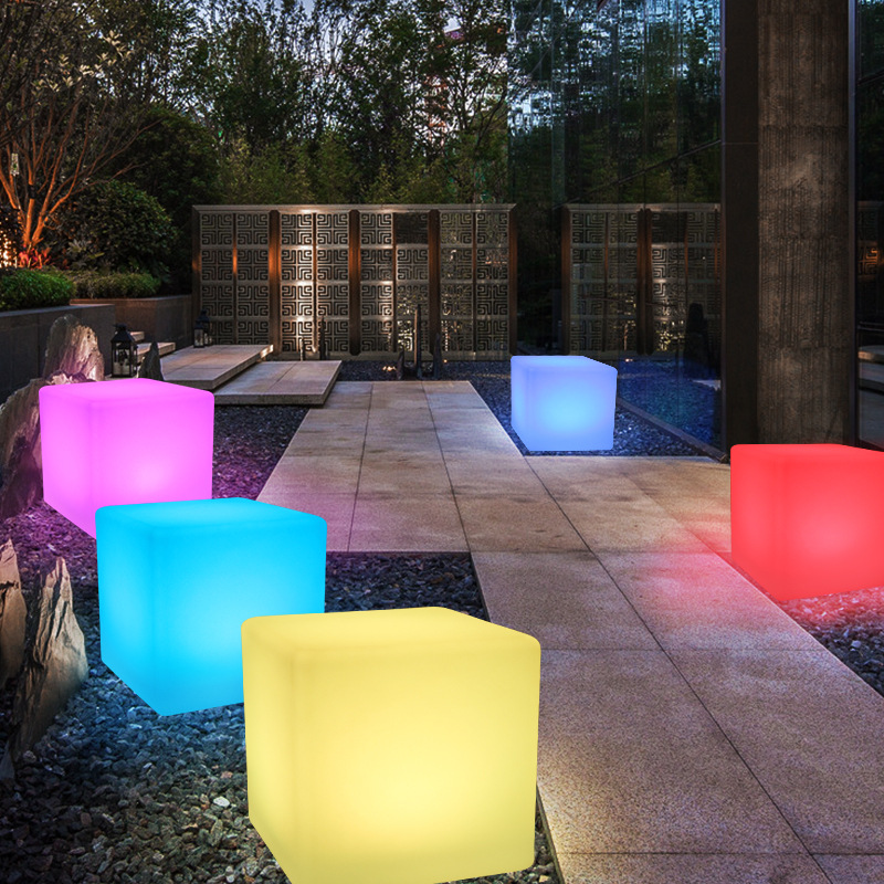 40x40x40CM <font><b>LED</b></font> <font><b>Cube</b></font> Light Luminous Furniture Remote Control 16-Color Cubic Stool Lamp for Outdoor Indoor Night Party Decor image