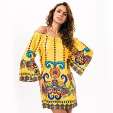 Sexy New Women Boho Beach Kaftan Dress For Summer Female Bohemian Floral Print Plus Size Sea Vacation Casual Sleeve Cover Up random floral print plus size beach cover up