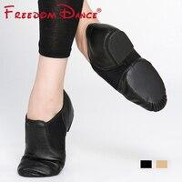 Genuine Leather Twin Gores Stretch Jazz Dance Shoes Slip On Type Women Teachers S Dance Sandals