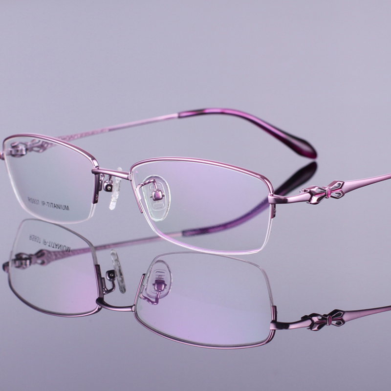 fe66070d0a44 High Quality Pretty Look Titanium Optical Eyeglasses Half Frame Myopia  Glasses For Women-in Eyewear Frames from Women's Clothing & Accessories