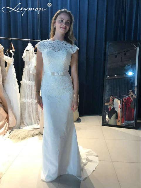 9518958666d 2019 Vintage White Mermaid Wedding Dress Lace Backless Bridal Gown  Detachable Train Wedding Party Gown vestido