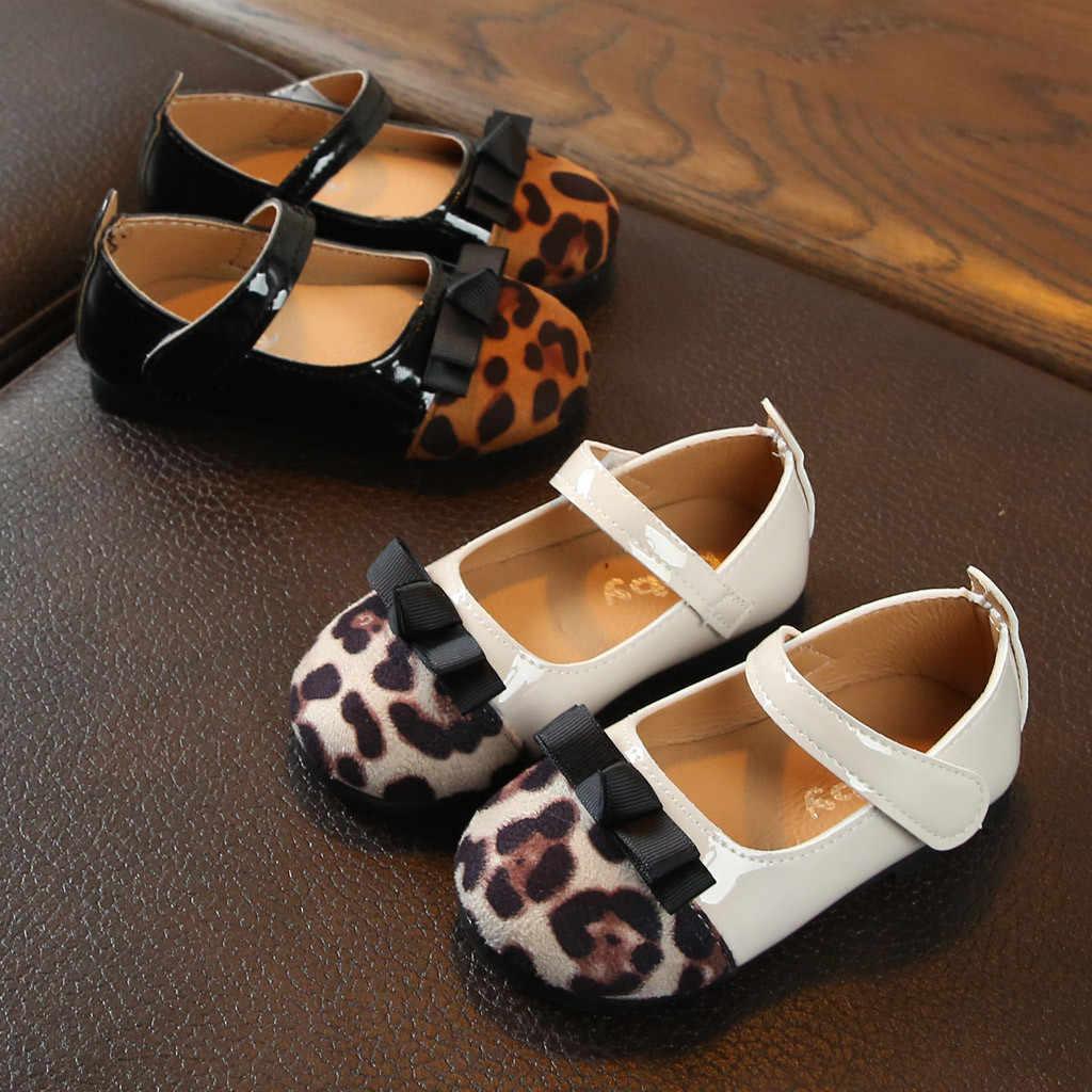 נעלי תינוק מזדמן אופנה תינוק בנות נעל נמר Patwork מודפס Bowknot אחת נעל סירה אנטי להחליק נסיכת תינוק ילדים נעליים
