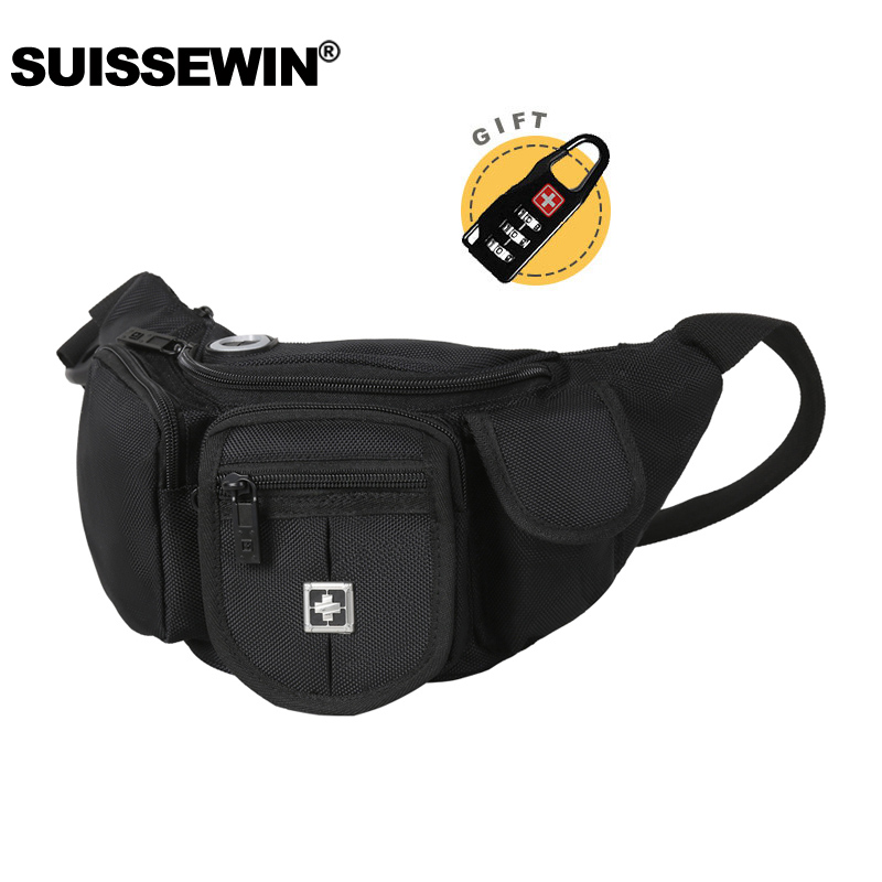 2019 New Swiss Black Belt Pouch Bag Waterproof Fanny Pack Casual Pockets Bum Wear Resistant Mini Waist Bag For Men And Women